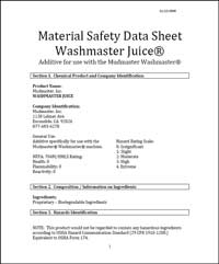 Washmaster Juice Material Safety Data Sheet